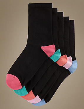 Contrast Heel & Toe Ankle Socks 5 Pair Pack