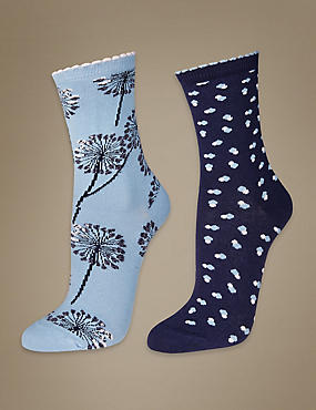 2 Pair Pack Printed Ankle High Socks