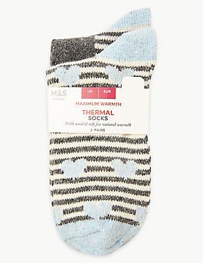 2 Pair Pack Thermal Ankle High Socks , GREY, catlanding