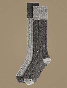 2 Pair Pack Thermal Knee Highs, GREY MIX, catlanding