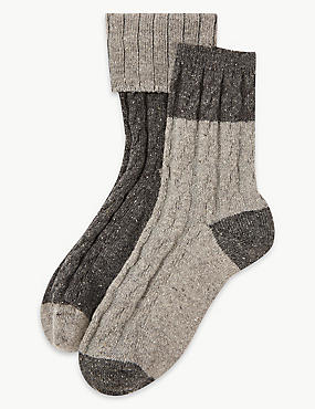 2 Pair Pack Thermal Ankle High Socks , GREY MIX, catlanding