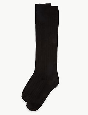 2 Pair Pack Thermal Knee High Socks , BLACK, catlanding