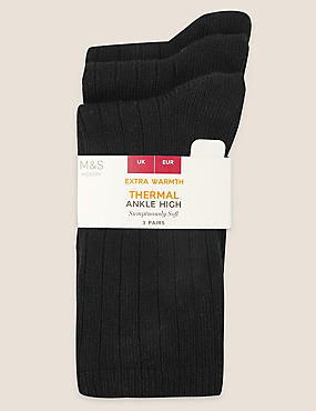 3 Pair Pack Thermal Ankle High Socks, BLACK, catlanding