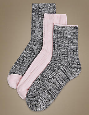 3 Pair Pack Thermal Ankle High Socks , PINK MIX, catlanding