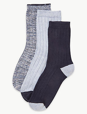3 Pair Pack Thermal Ankle High Socks, DENIM MIX, catlanding