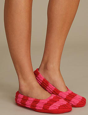 Striped Ballet Slipper Socks, RED MIX, catlanding