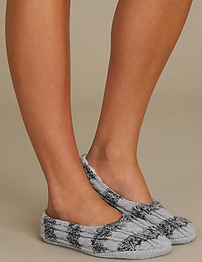 Striped Ballet Slipper Socks , GREY MIX, catlanding