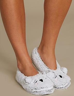 Fleece Ballet Slipper Socks, GREY, catlanding