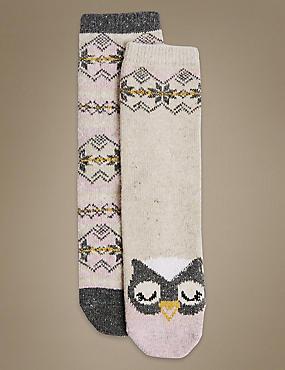 2 Pair Pack Thermal Socks, PINK MIX, catlanding