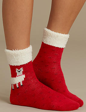 2 Pair Pack Supersoft Bedsocks, RED MIX, catlanding