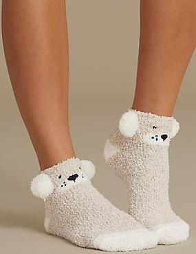2 Pair Pack Slipper Socks , OATMEAL MIX, catlanding