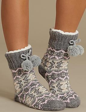 Fleece Fairisle Lined Booties , GREY MIX, catlanding