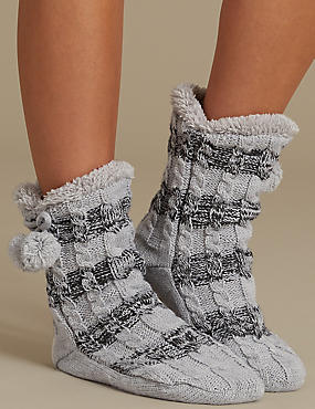 Fleece Cable Booties, GREY MIX, catlanding