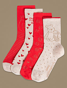 4 Pair Pack Cotton Rich Ankle High Socks, RED MIX, catlanding