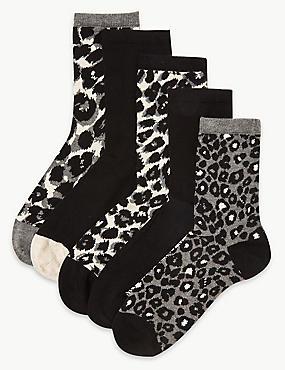 5 Pair Pack Ankle High Socks , BROWN MIX, catlanding