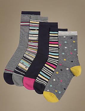 5 Pair Pack Ankle High Socks, NAVY MIX, catlanding