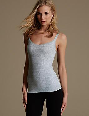 Cotton Blend Lace Trim Textured Vest, GREY MIX, catlanding