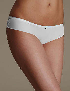 No VPL Lace Trim Brazilian Knickers with Cool Comfort Lite™