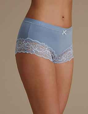 Isabella Cotton Blend High Waist Brazilian Knickers