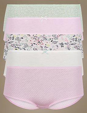 5 Pack Pure Cotton Low Rise Shorts  , LILAC MIX, catlanding