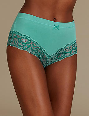 Cotton Rich High Waisted Brazilian Knickers, MEDIUM AQUA, catlanding