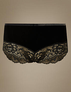 Velvet Floral Lace High Waisted Brazilian Knickers