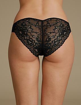 Louisa Lace High Leg Knickers, BLACK, catlanding