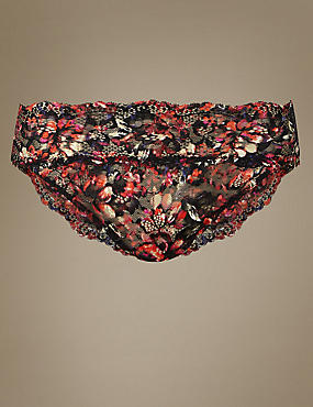 Floral Print Lace High Leg Knickers