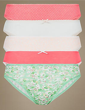 5 Pack Cotton Rich High Leg Knickers