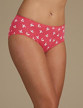 5 Pack Cotton Rich Midi Knickers, PINK MIX, catlanding