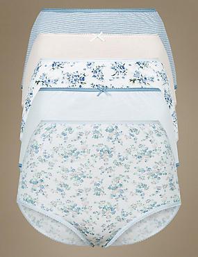 5 Pack Pure Cotton Full Briefs, BLUE MIX, catlanding
