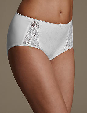 Jacquard Lace High Rise Midi Knickers