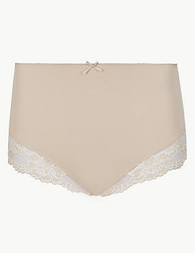 Cotton Rich Lace Cuffed Full Briefs, ALMOND, catlanding