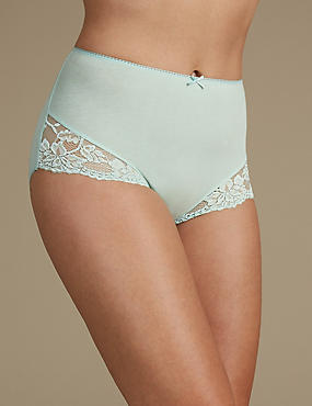 Cotton Rich Lace Cuffed Full Briefs