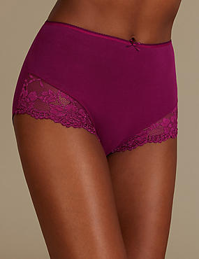 Cotton Rich Lace Cuffed Full Briefs, MAGENTA, catlanding