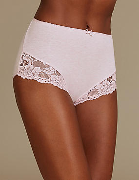 Cotton Rich Lace Embroidered Full Briefs  , PINK MIX, catlanding