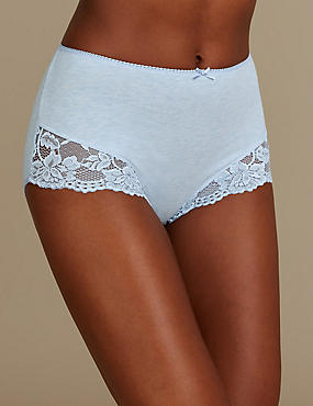 Cotton Rich Lace Embroidered Full Briefs  , BLUE MIX, catlanding