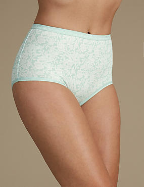Cotton Rich Jacquard Waist Floral Full Briefs