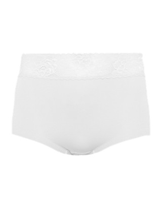 No VPL Cotton Rich Lace High Rise Full Briefs Clothing