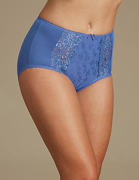 Jacquard Lace High Rise Full Briefs, BLUE, catlanding