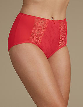 Jacquard Lace High Rise Full Briefs, TOMATO, catlanding