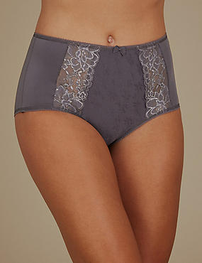 Jacquard Lace High Rise Full Briefs, DARK GREY, catlanding