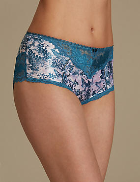 Sheen & Lace Print Brazilian Knickers