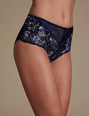 Sheen & Lace Print Brazilian Full Briefs