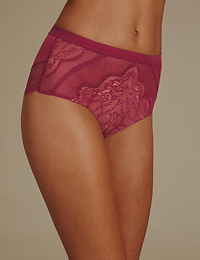 No VPL Eyelash Lace High Waisted Knickers
