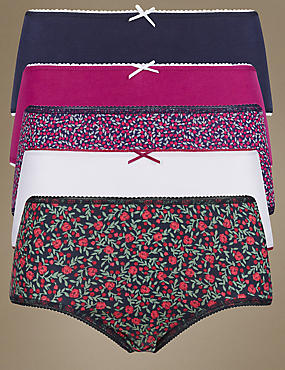 5 Pack Cotton Rich Assorted Berry Midi Knickers