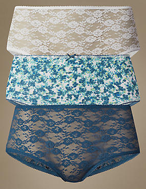 3 Pack Print & Lace Midi Knickers