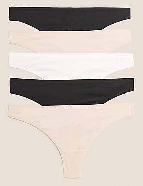 5 Pack No VPL Microfibre Low Rise Thongs