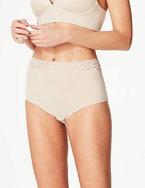 5 Pack Lace High Waisted Full Briefs