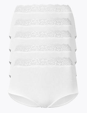5 Pack Lace High Waisted Full Briefs, WHITE, catlanding